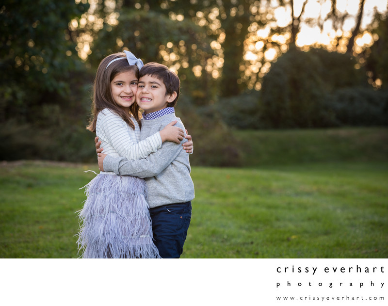 Portraits of Twins Hugging - Outdoor Pictures