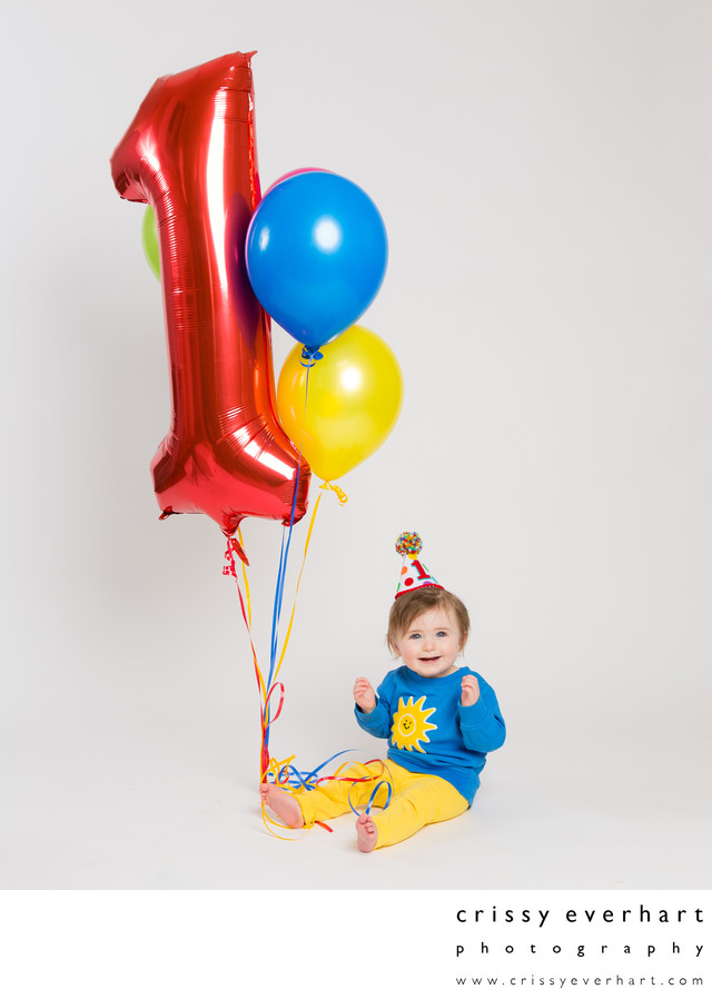 First Birthday Photo Shoot with Balloons