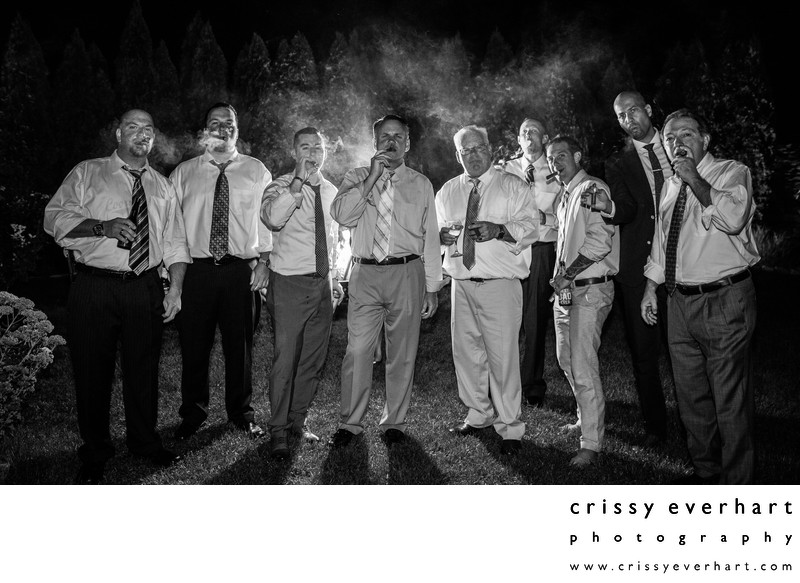 Gables Chadds Ford Wedding - Cigar Break with the Guys
