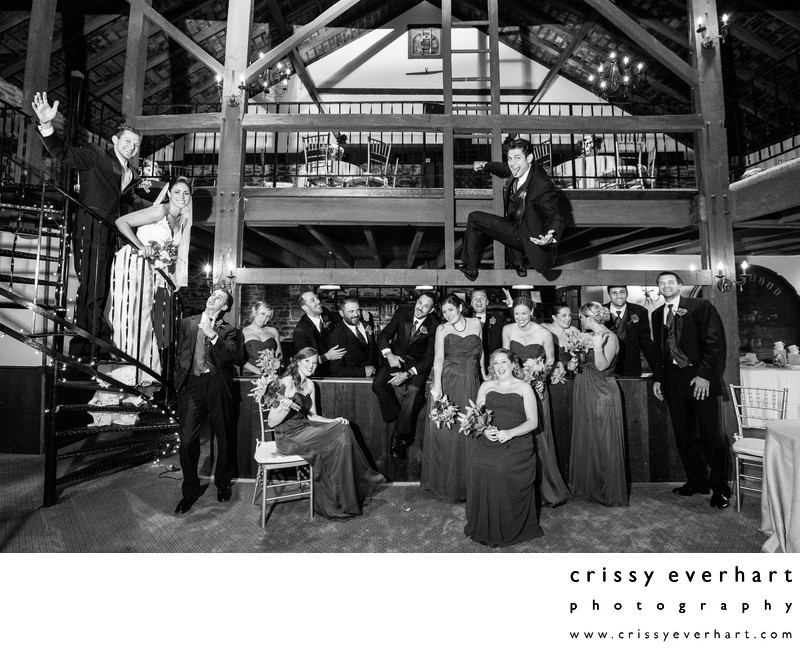Crazy Wedding Party at Barn on Bridge in Collegeville