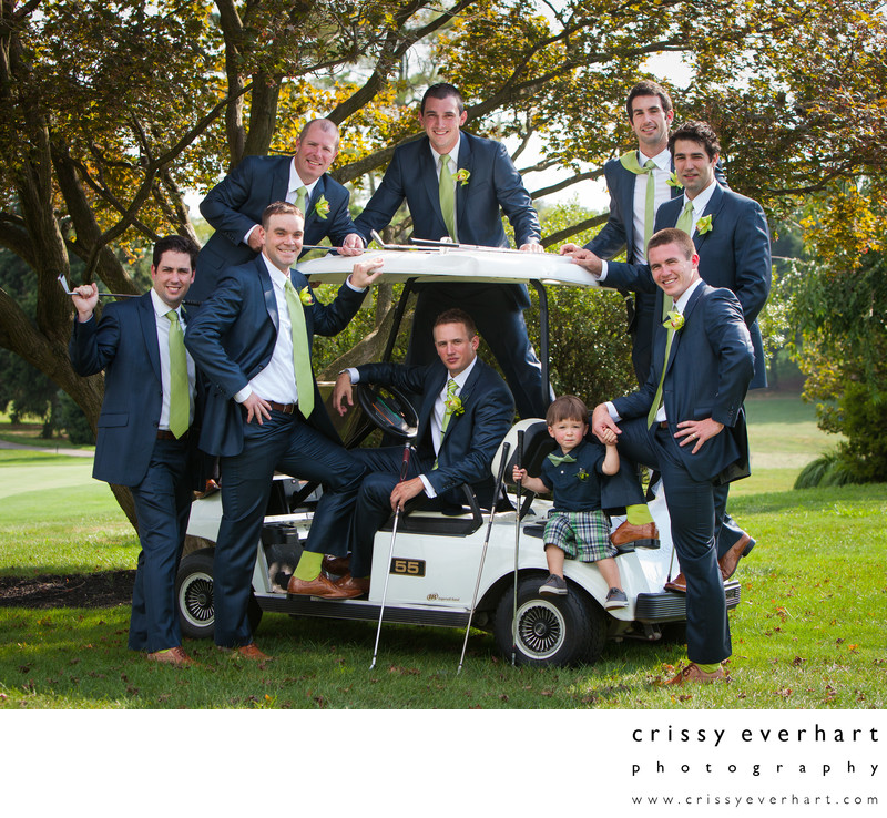 Groomsmen on Golf Cart, Penn Oaks Golf Club Wedding