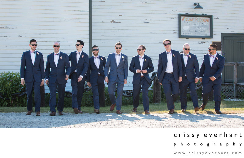 Reservoir Dogs Style Groomsmen Portrait on Long Island