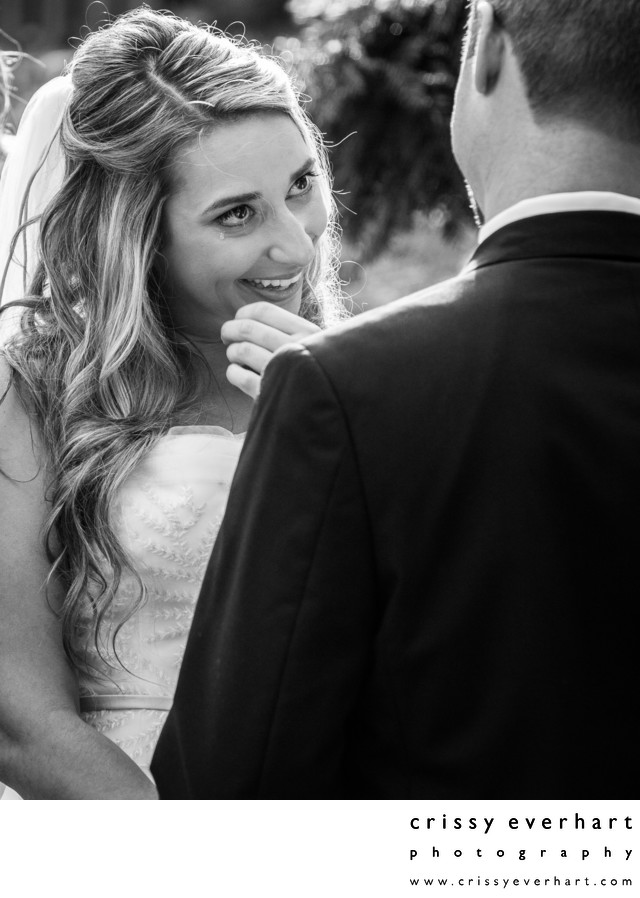 Bride Wipes Tear During Wedding Ceremony Vows