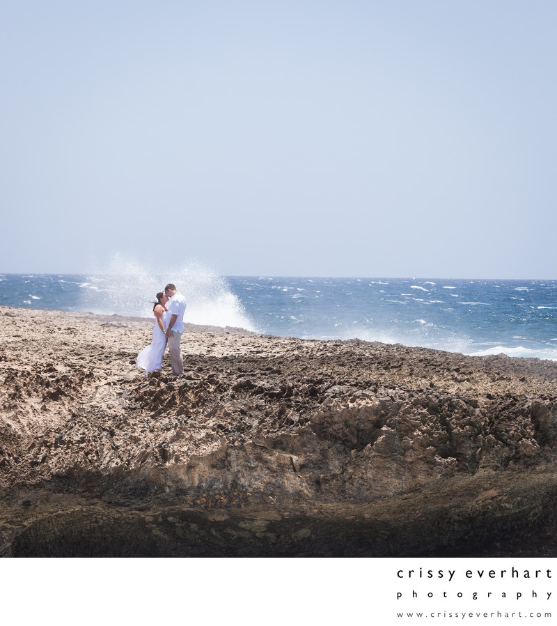 Aruba Destination Wedding - Water Crashing on Rocks