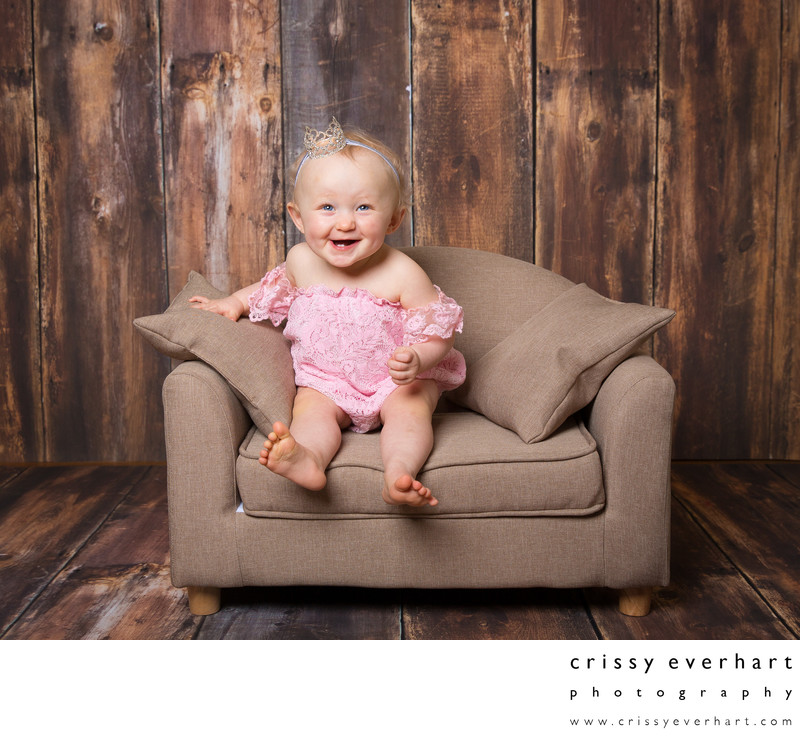 One Year Old Baby on Sofa - Portrait Studio