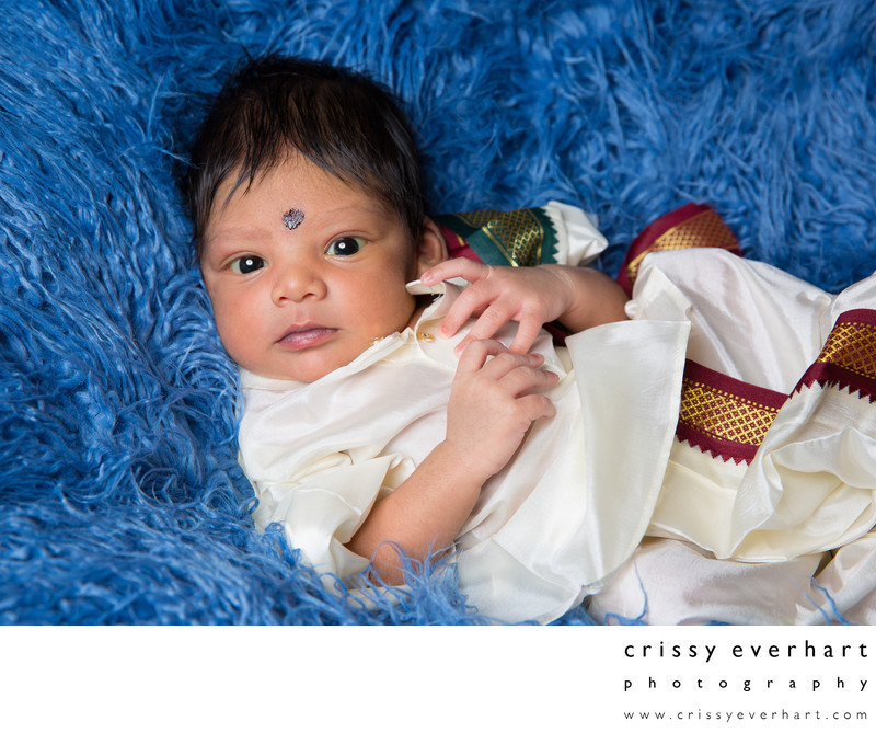 Indian Newborn Baby Boy In-Home Portrait Session