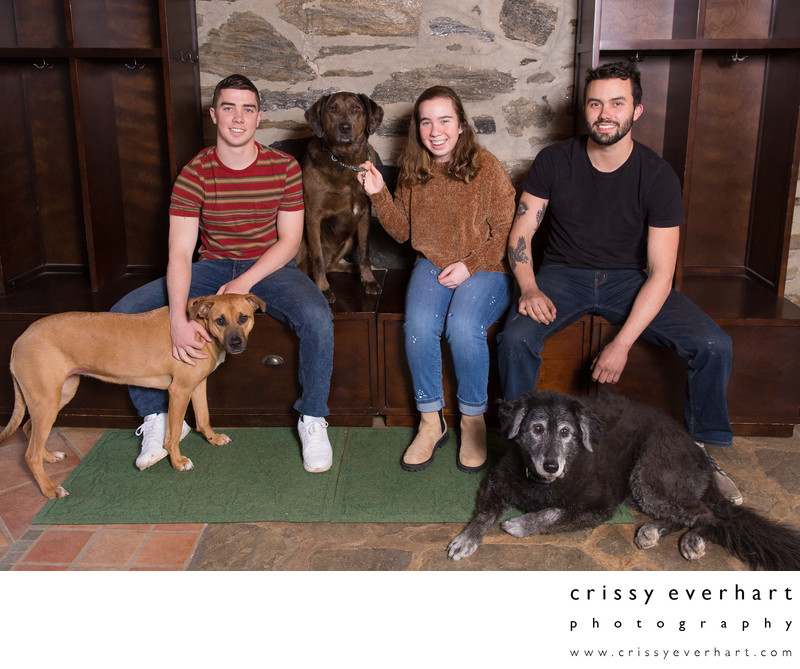 Teens with Dogs - Family Photos at Home with Pets