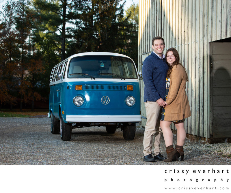 Fall Engagement Photo with Antique Volkswagen