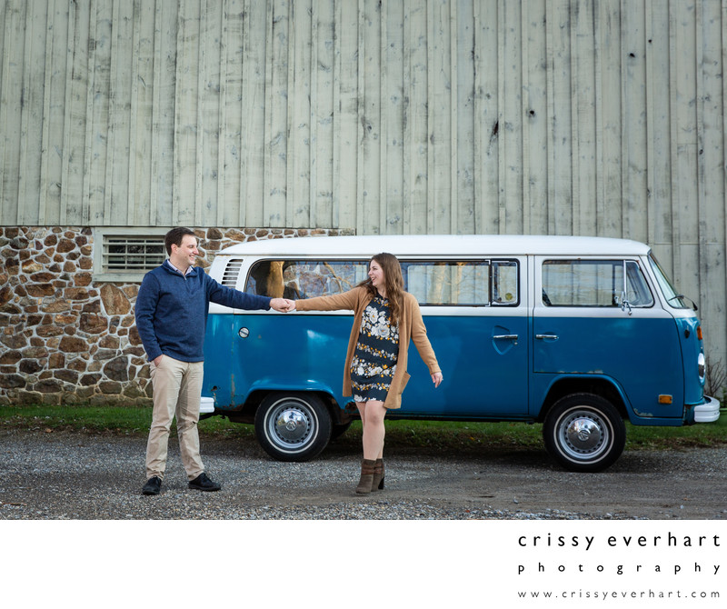 Engagement Session with Vintage Volkswagen Bus