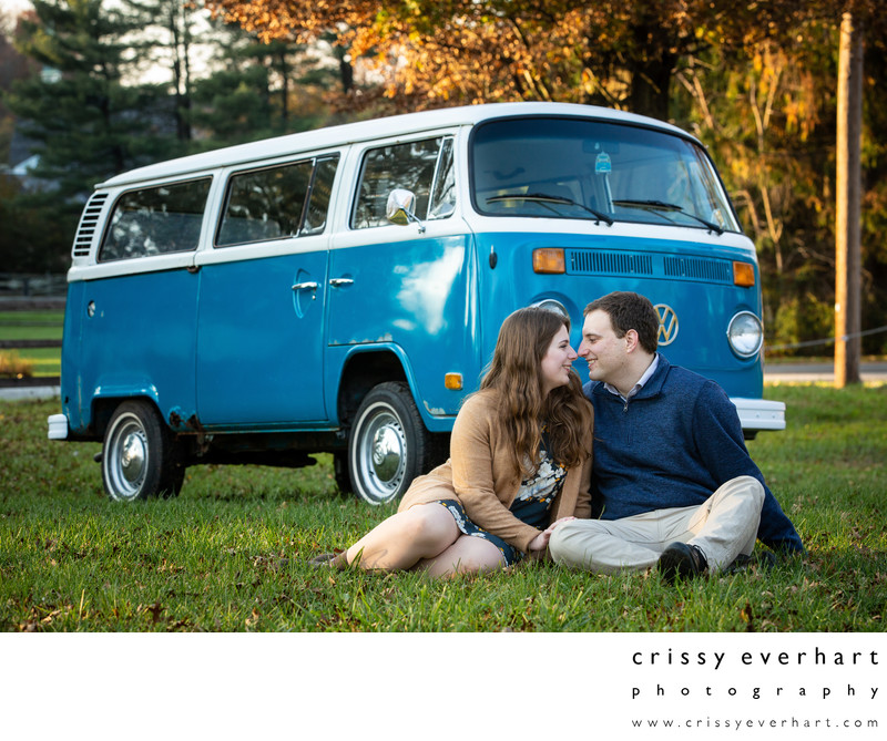 Chester County Engagement Portraits with Retro VW Bug