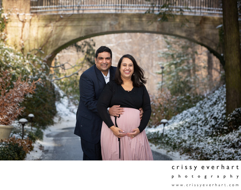 Longwood Gardens Maternity Session Session in Snow