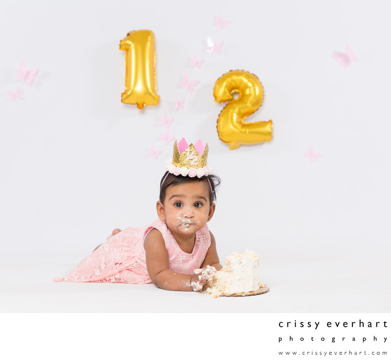 Half Birthday Cake Smash - Six Month Old Portraits
