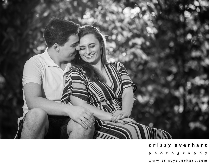 Black and White Engagement Photos at Valley Forge