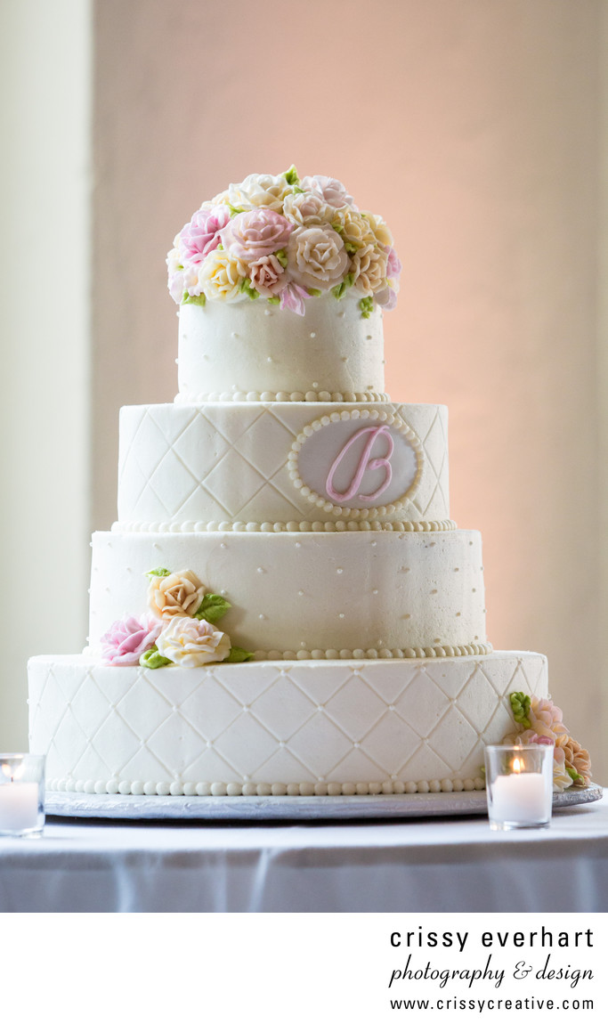 Center City Wedding Cake with Patterns and Flowers
