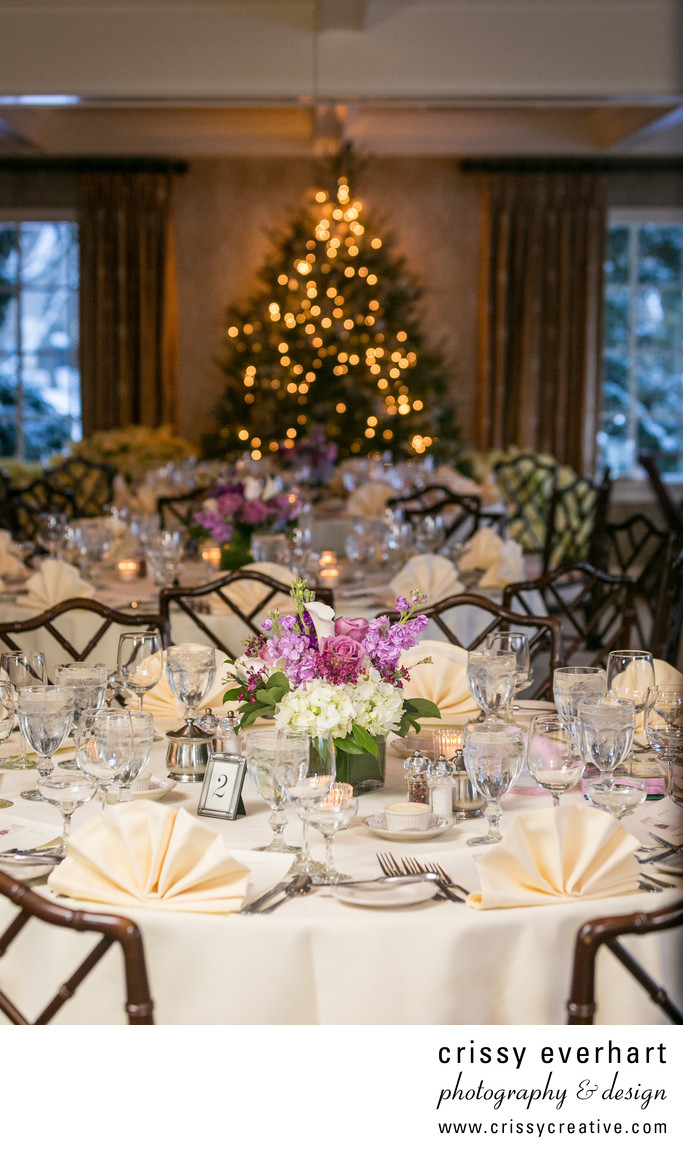 Kimberton Inn Holiday Wedding Decor - Ivory and Purple