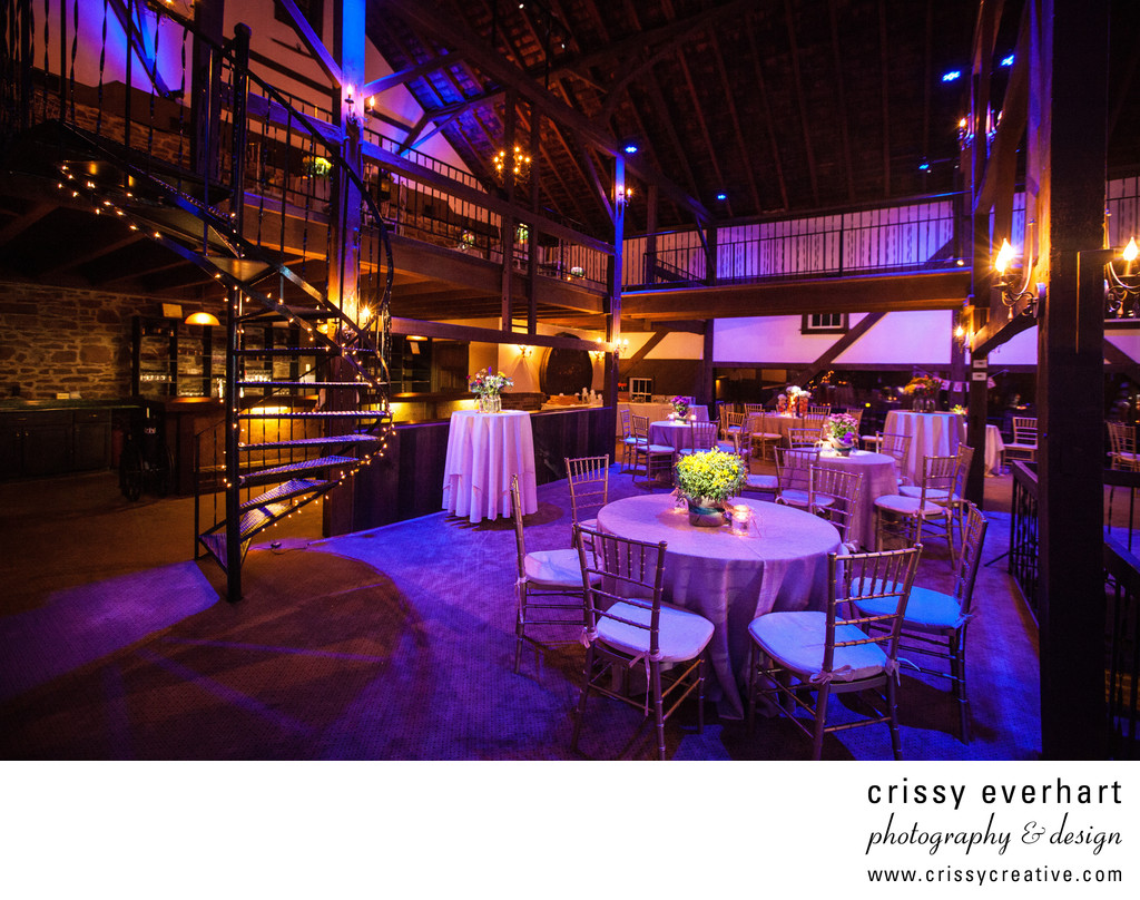 Barn on Bridge Wedding - Blue and Purple Room Lighting