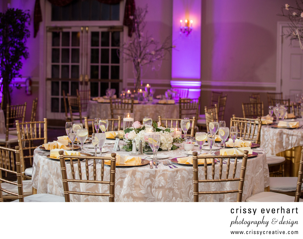 Belle Voir Wedding Reception in Ivory, Purple and Gold