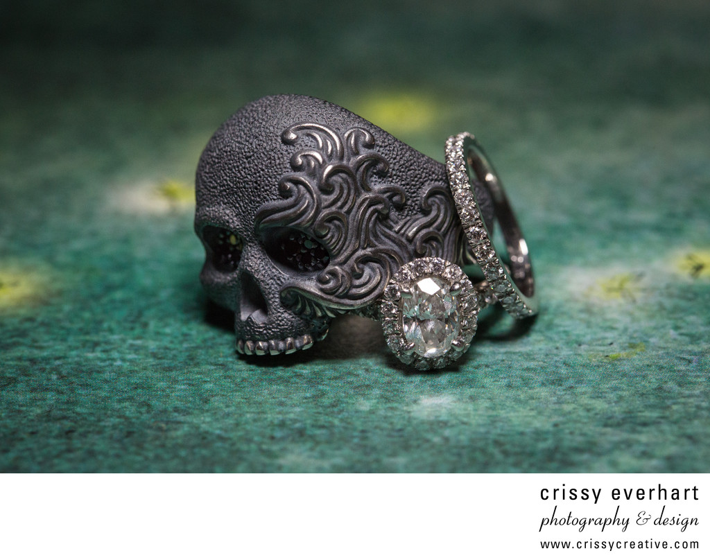 Skull Groom's Ring with Bride's Diamond Rings - Macro