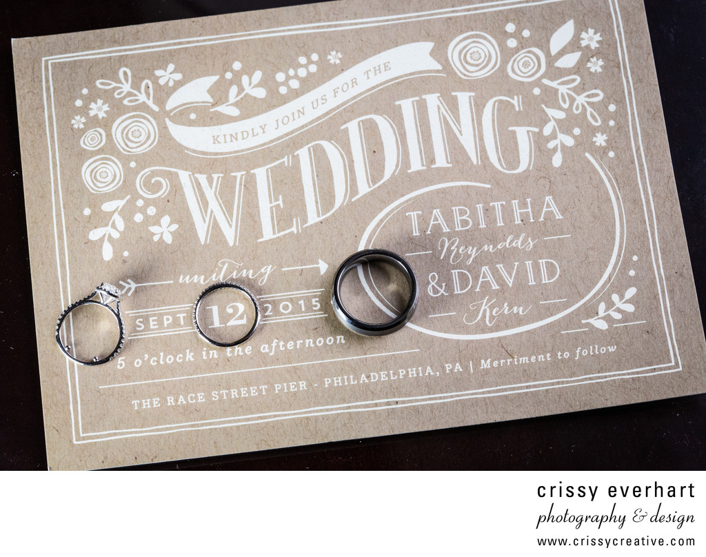 Rings on Invitation - Philly Wedding Photographer