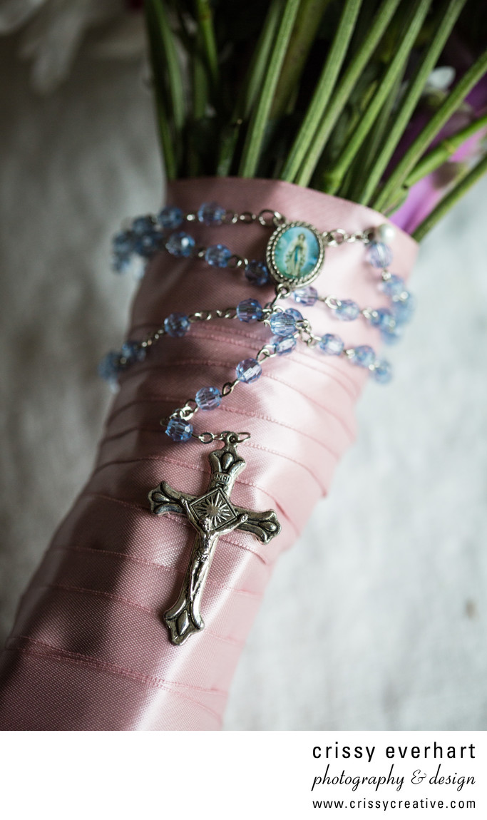 Grandma's Rosary on Bridal Bouquet- Paoli Photographer