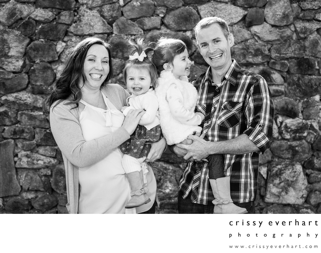 B&W Family Portraits - Family with Two Toddler Girls