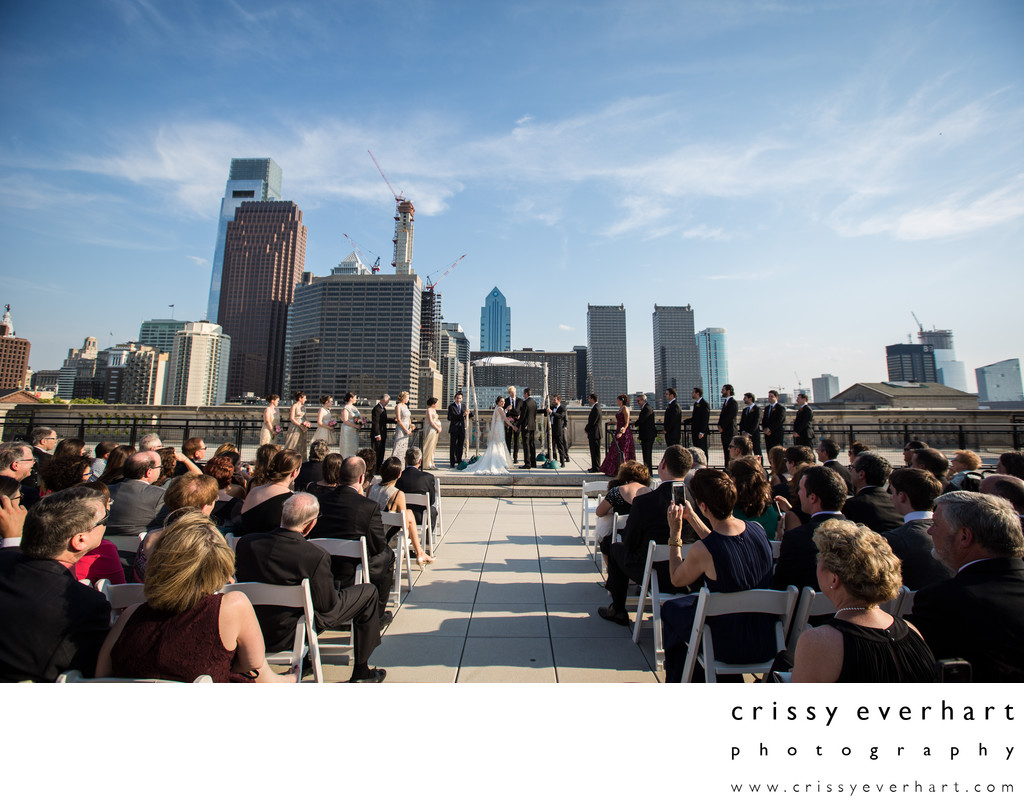 Philadelphia Skyline - Library Rooftop Wedding Ceremony