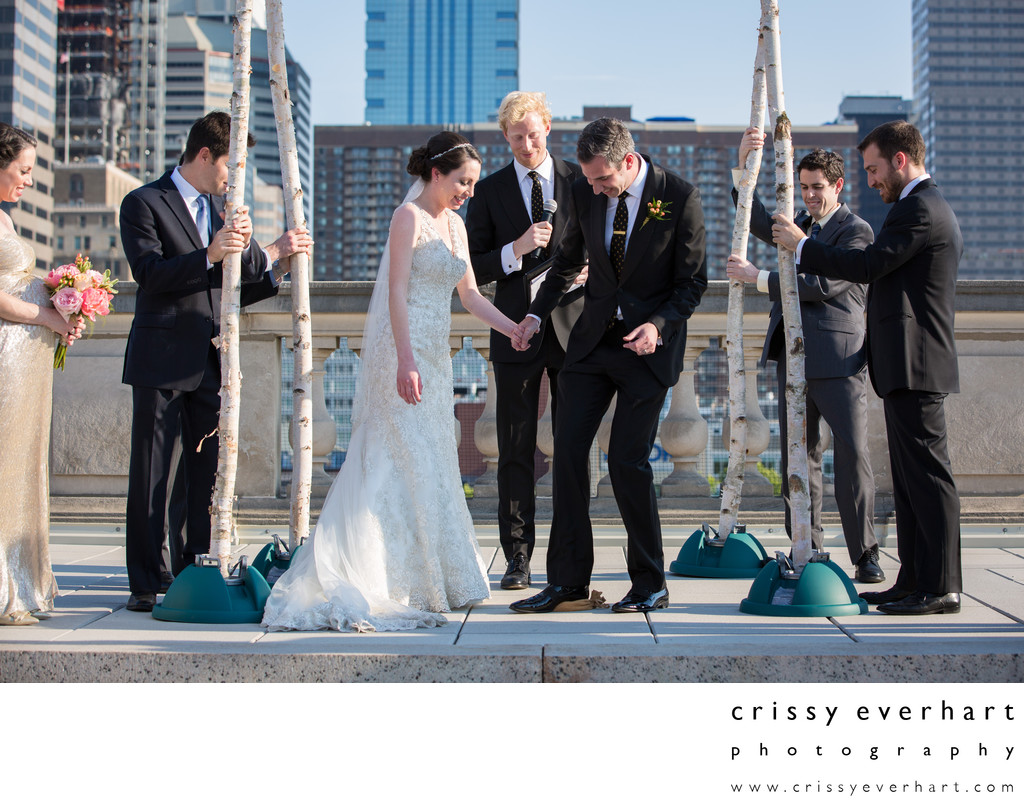 Breaking the Glass on Philly Rooftop - Jewish Ceremony