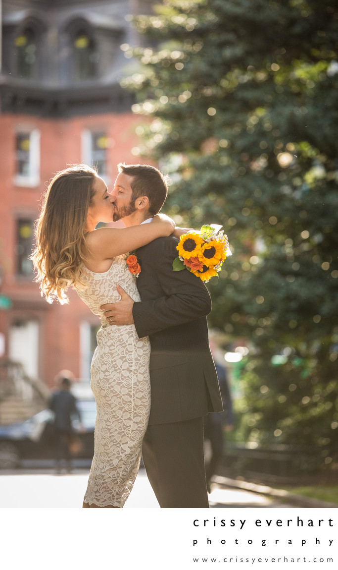 Rittenhouse Square Backlit Wedding Portrait, Sunflowers