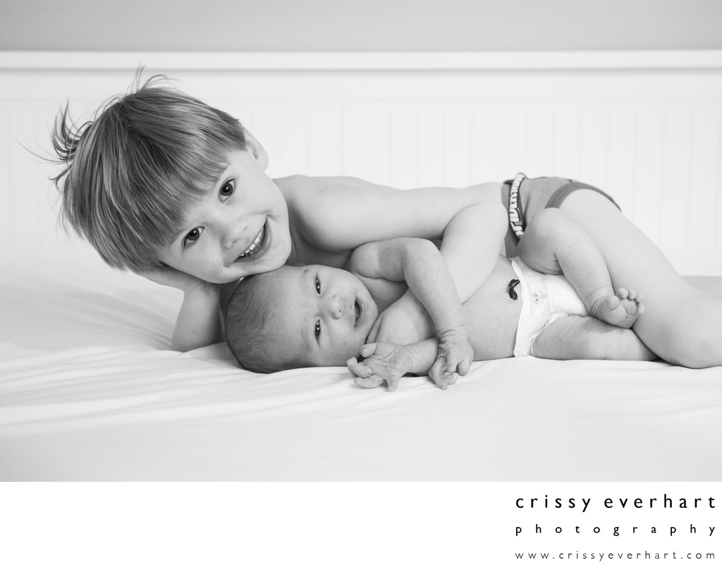 Infant and Big Brother - In Home Newborn Photos