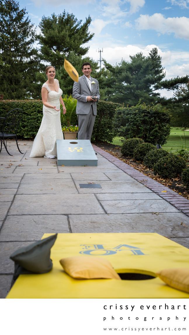Corn Hole Bean Bag Games - Playful Wedding Photos