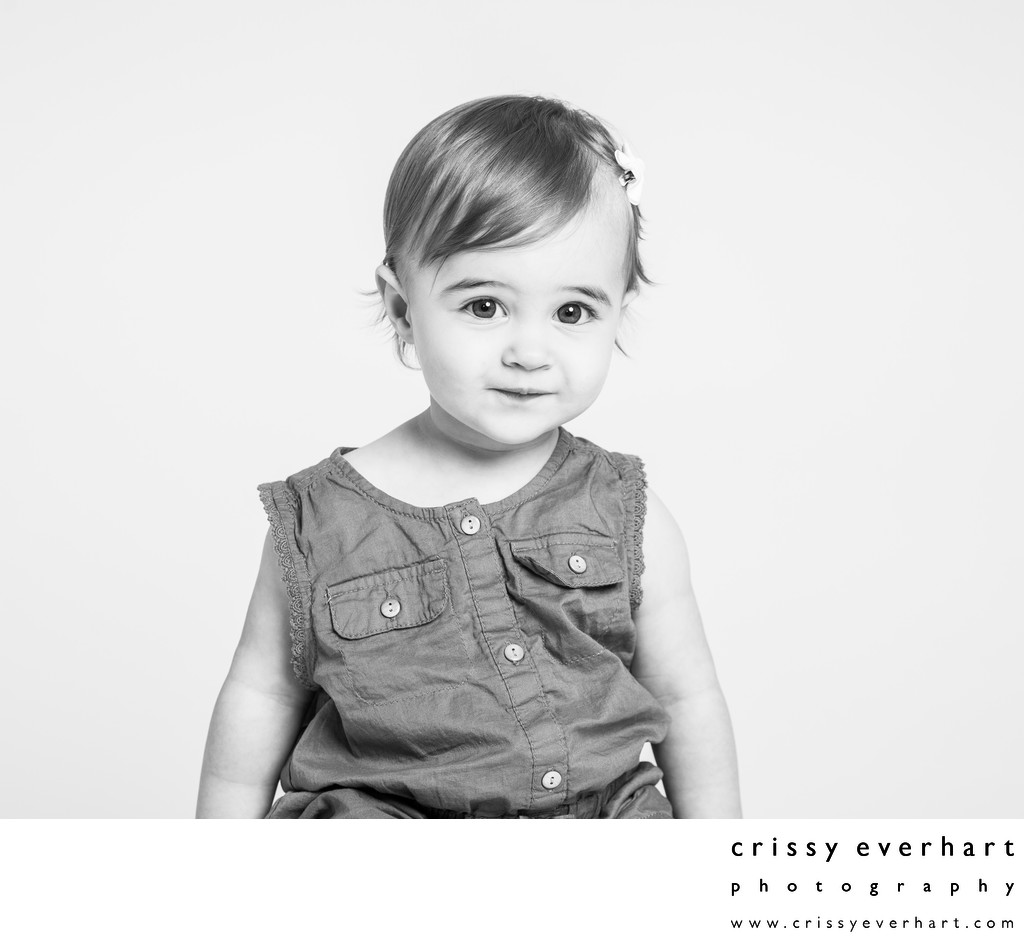 One Year Old Girl, White Backdrop Portraits