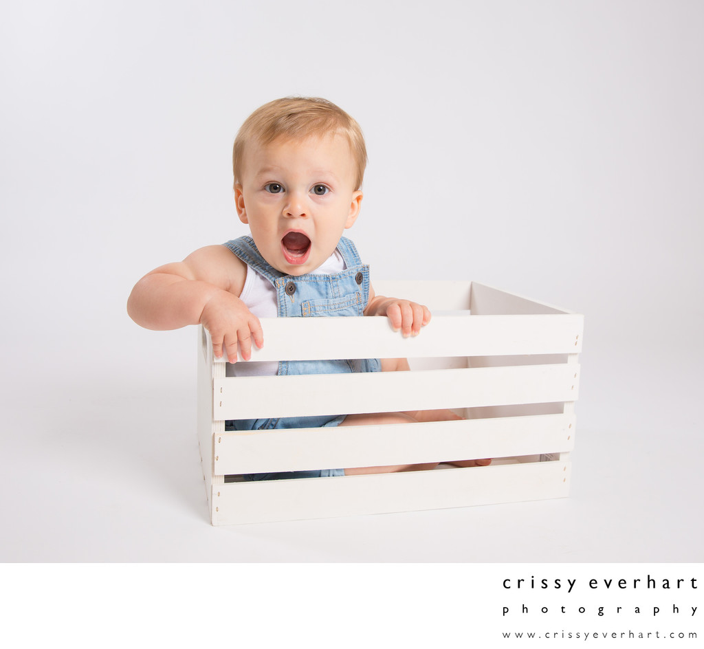 Toddler Portraits with Props - Wooden Crate