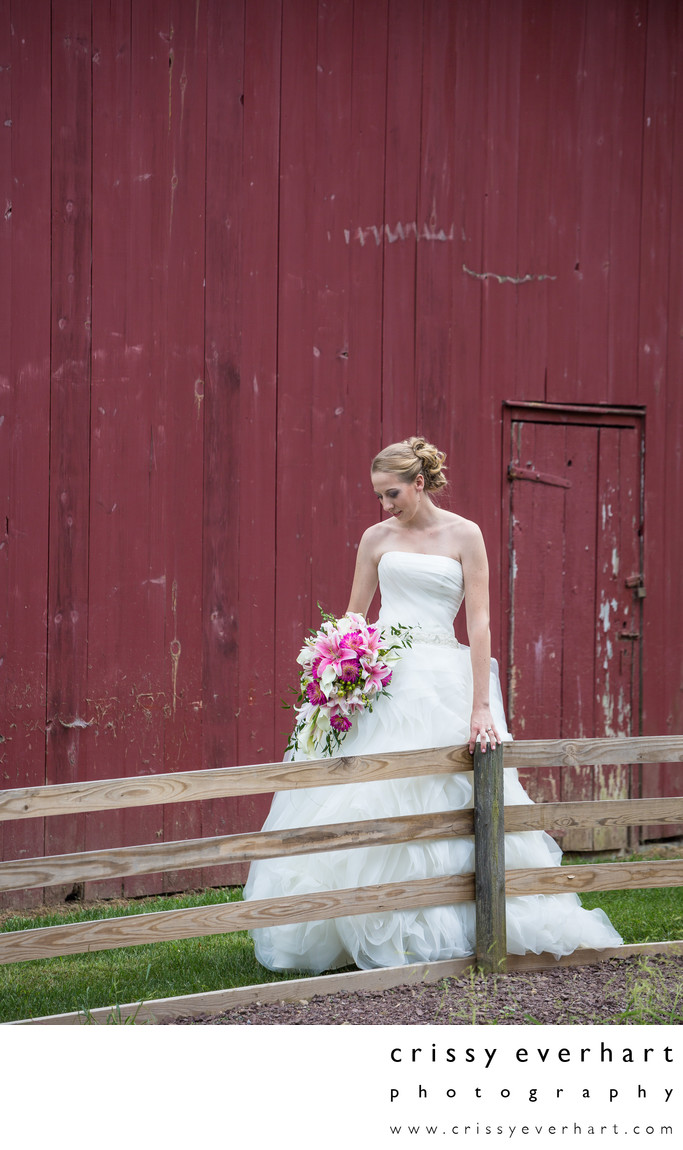 Bride in Front of Red Barn - VanCleve Wedding Dress