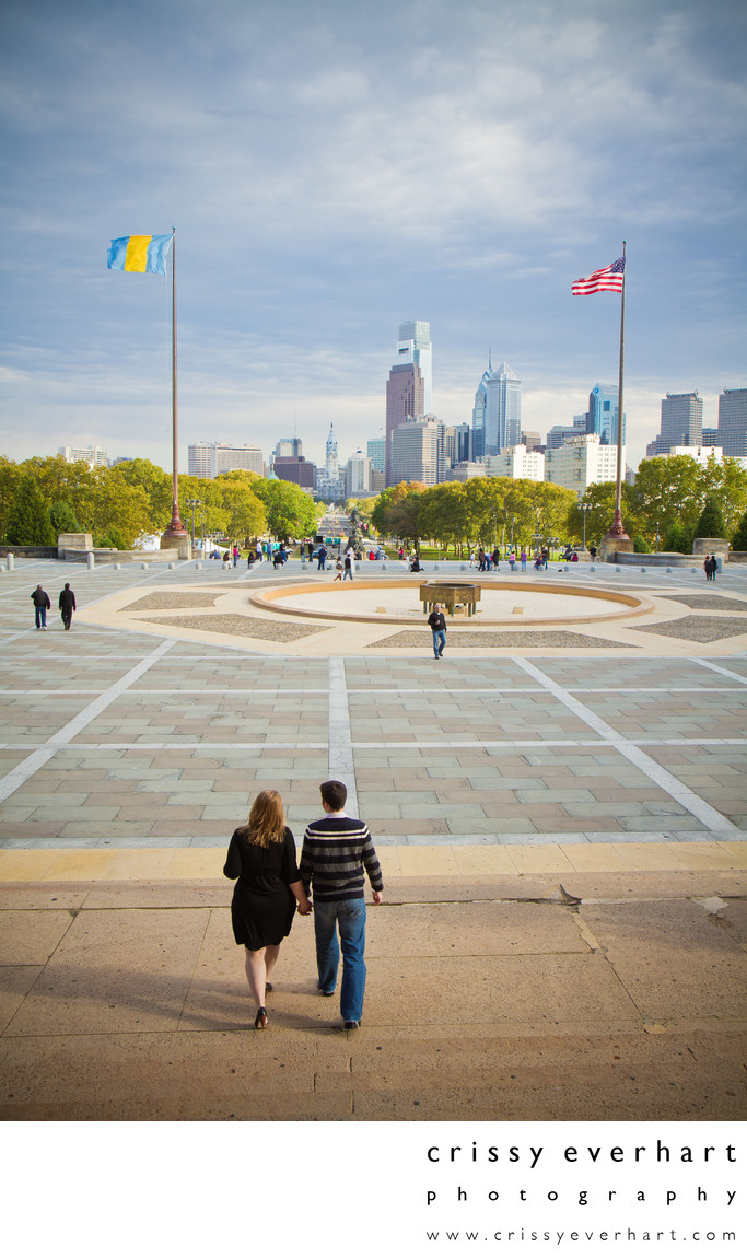 Philadelphia Skyline - Engagement Photos at Art Museum