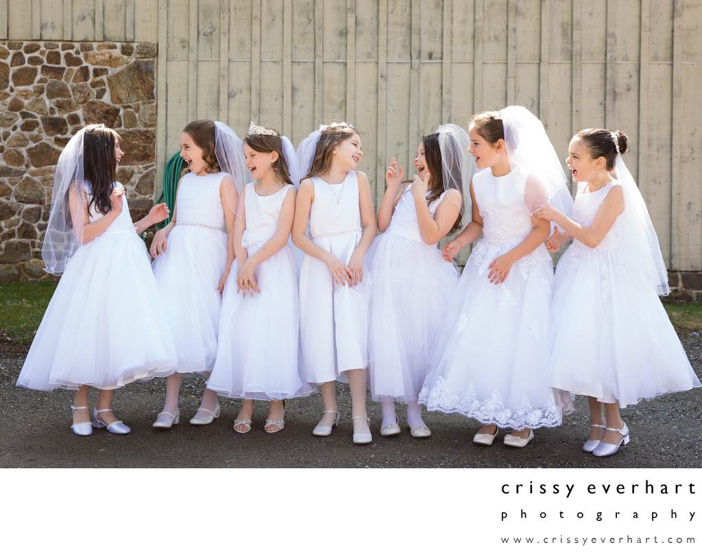 First Holy Communion Portraits Taken Outdoors