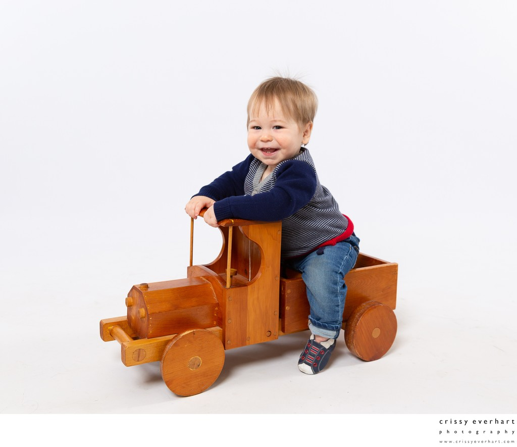 Paoli First Birthday Portraits with Vintage Toy Car