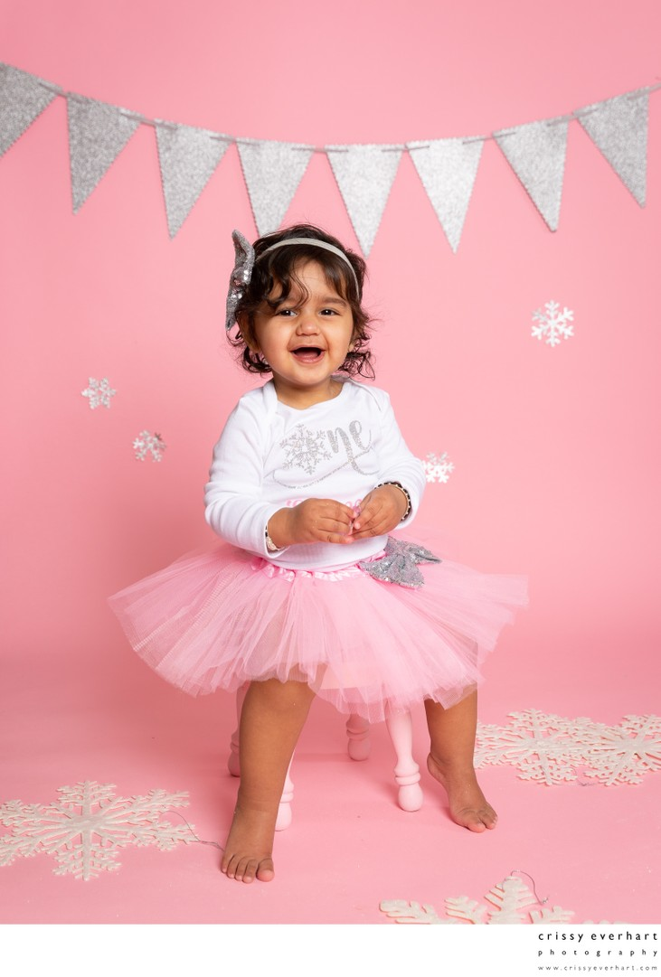 First Birthday Girl - Pink with Snowflakes