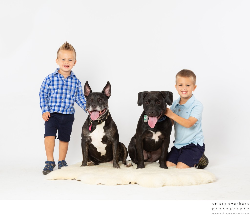 Two Boys with Two Dogs