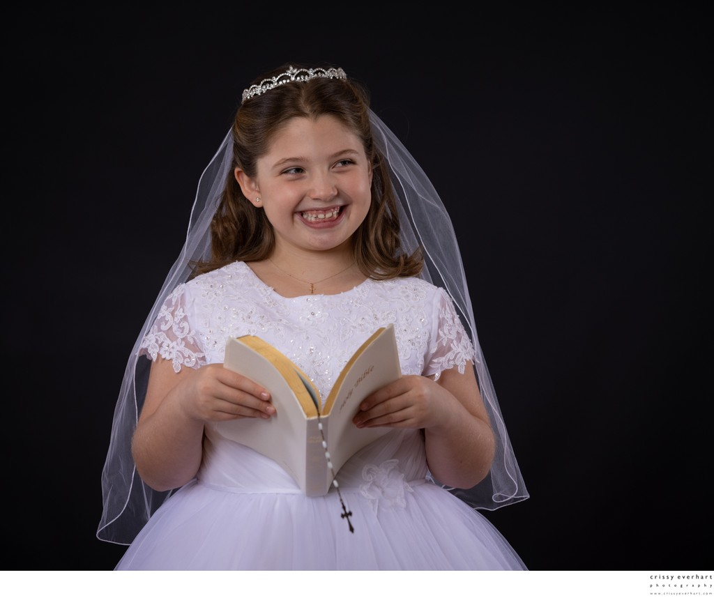 First Holy Communion with Bible and Rosary