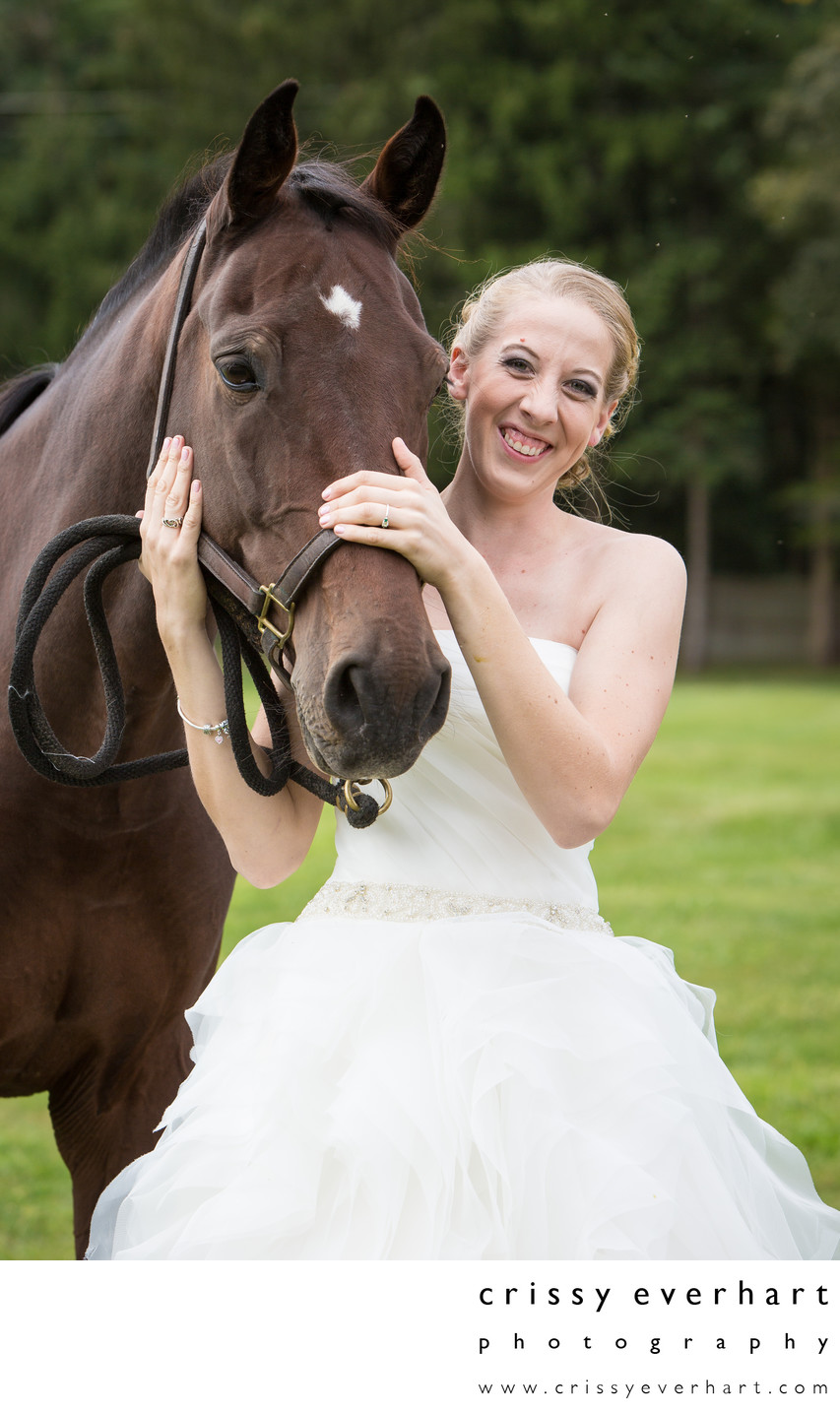 Bride with Horse - Animal Friendly Wedding Photographer