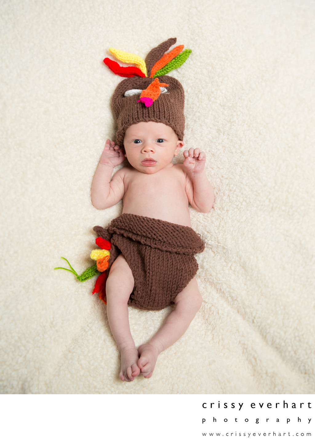 Thanksgiving Newborn Photos - Turkey Baby Knit Costume