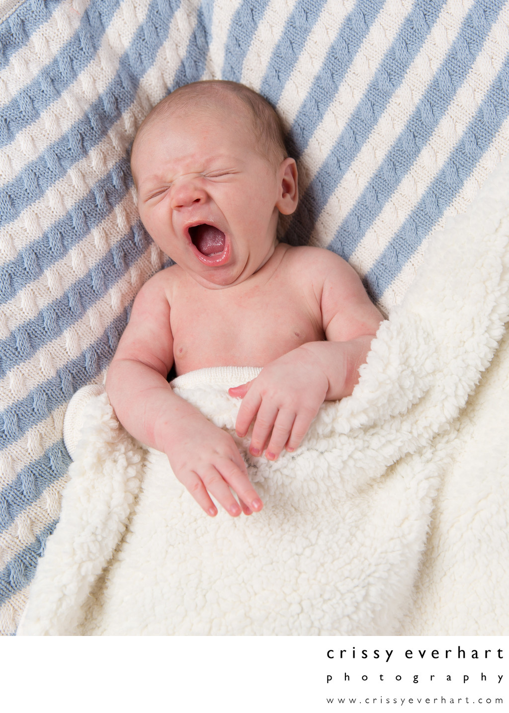 Yawning Newborn - Infant Boy