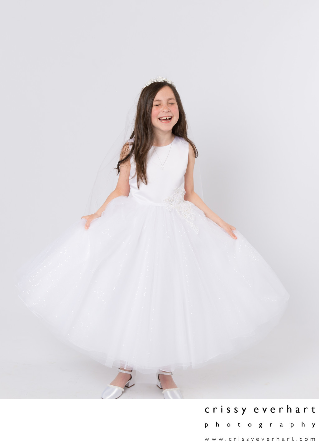 First Communion Portraits on White Backdrop