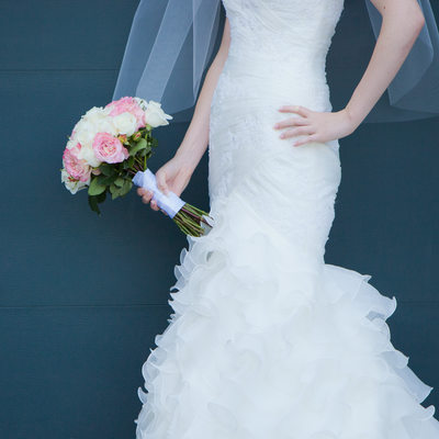 Bride and Bridal Bouquet - Mermaid Cut Wedding Dress