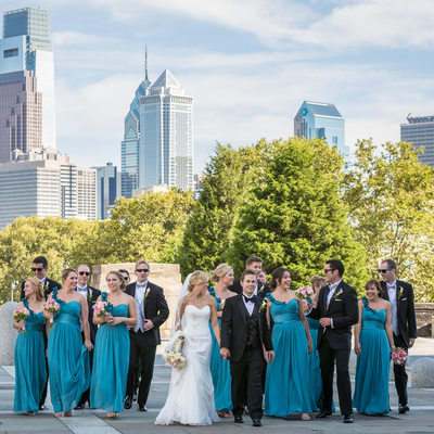 Wedding Party at Art Museum with Philly Skyline