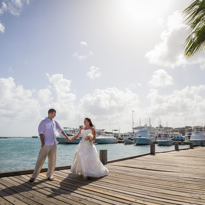 Destination wedding- Oranjestad, Aruba- Couple on Docks