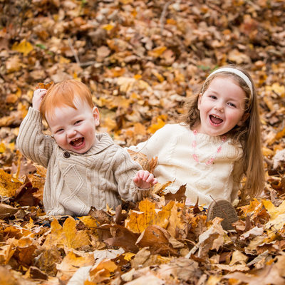 Fall Portraits - Kids Laughing in the Leaves