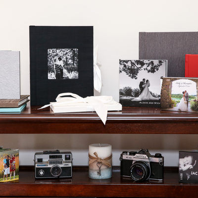 Wedding and portrait albums on display at the studio