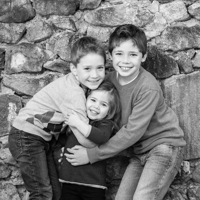 Brothers and Sister Hugging - Kids Portraits in Malvern