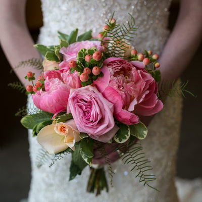 Pink Bridal Bouquet with Roses, Ranunculus and Berries